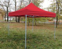3 x 3 méteres Alap minőségű Mobilsátor Oldalfal nélkül (Piros)