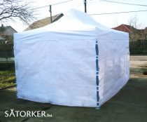 3 x 4,5 méteres Erős minőségű Mobilsátor Oldalfallal (Fehér)